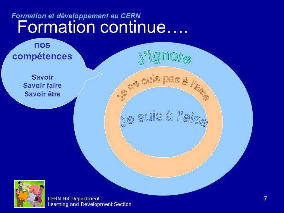 7 CERN HR Department Learning and Development Section Formation continue…. Formation et développement au CERN nos compétences Savoir Savoir faire Savo