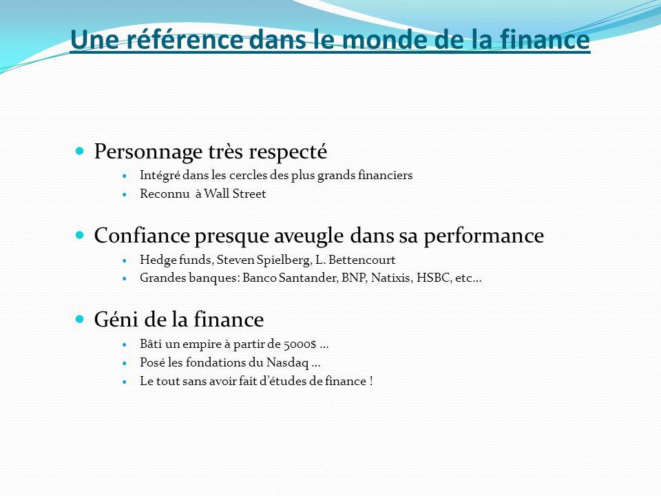 Une référence dans le monde de la finance Personnage très respecté Intégré dans les cercles des plus grands financiers Reconnu à Wall Street Confiance