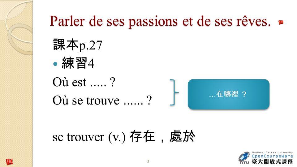 Parler de ses passions et de ses rêves. p.27 4 Où est..... ? Où se trouve...... ? se trouver (v.) 3 … …