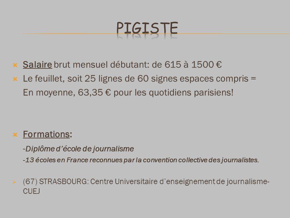 Salaire brut mensuel débutant: de 615 à 1500 Le feuillet, soit 25 lignes de 60 signes espaces compris = En moyenne, 63,35 pour les quotidiens parisiens.