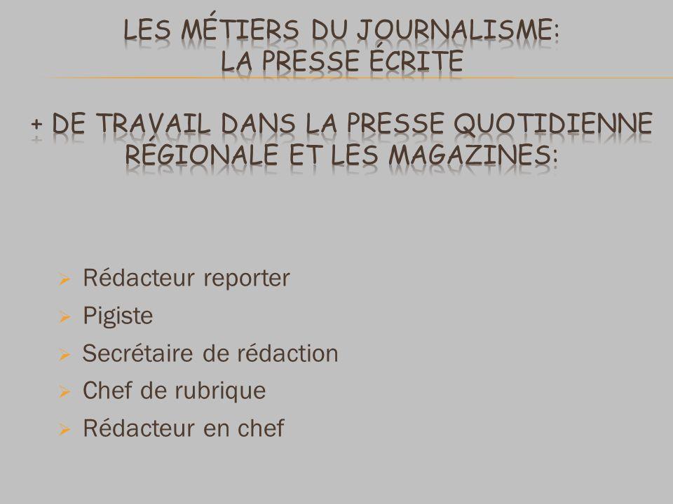 Rédacteur reporter Pigiste Secrétaire de rédaction Chef de rubrique Rédacteur en chef