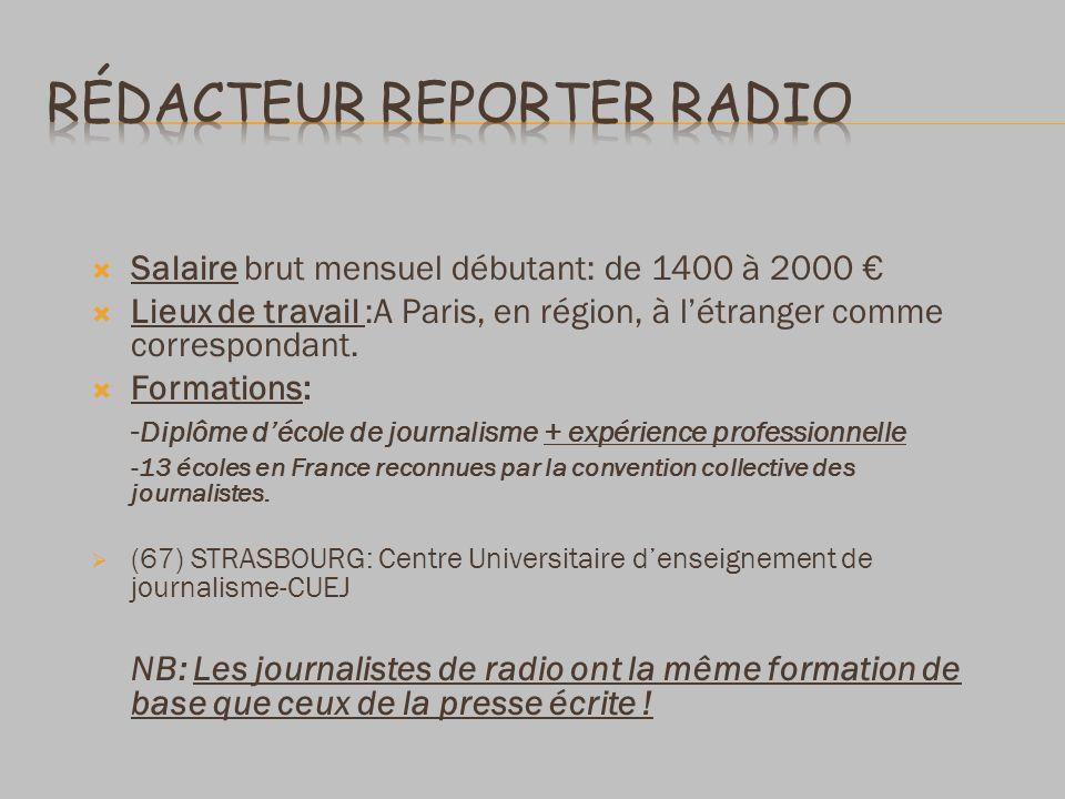 Salaire brut mensuel débutant: de 1400 à 2000 Lieux de travail :A Paris, en région, à létranger comme correspondant.