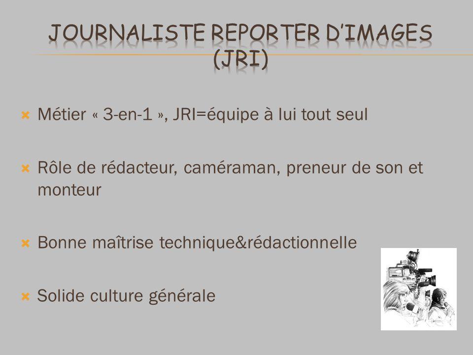 Métier « 3-en-1 », JRI=équipe à lui tout seul Rôle de rédacteur, caméraman, preneur de son et monteur Bonne maîtrise technique&rédactionnelle Solide culture générale