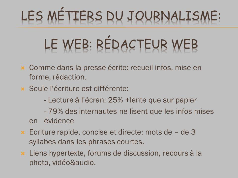 Comme dans la presse écrite: recueil infos, mise en forme, rédaction.