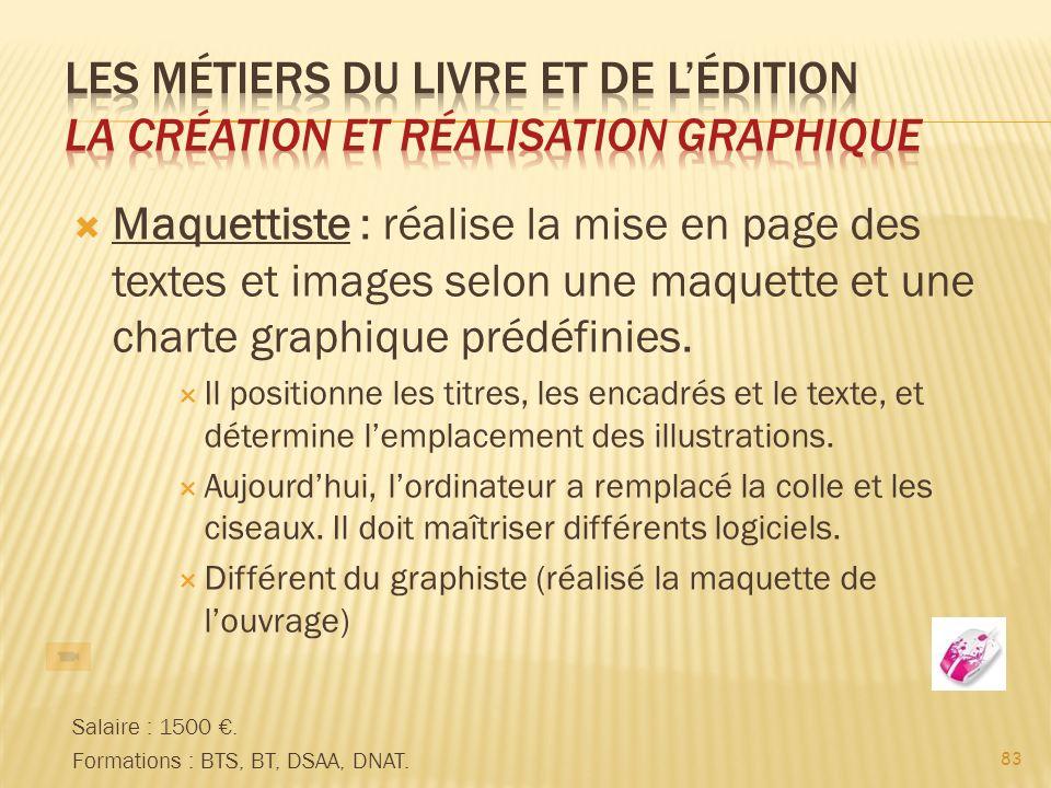 83 Maquettiste : réalise la mise en page des textes et images selon une maquette et une charte graphique prédéfinies.