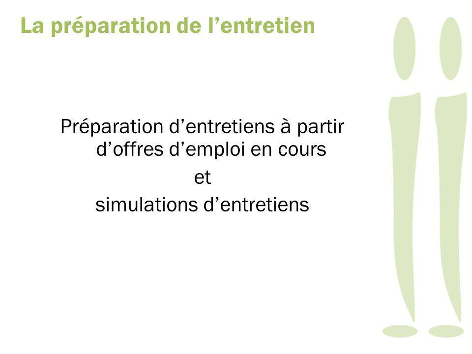 Préparation dentretiens à partir doffres demploi en cours et simulations dentretiens La préparation de lentretien