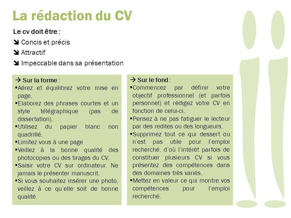 Le cv doit être : Concis et précis Attractif Impeccable dans sa présentation Sur la forme : Aérez et équilibrez votre mise en page, Elaborez des phrases courtes et un style télégraphique (pas de dissertation), Utilisez du papier blanc non quadrillé, Limitez vous à une page Veillez à la bonne qualité des photocopies ou des tirages du CV, Saisir votre CV sur ordinateur.