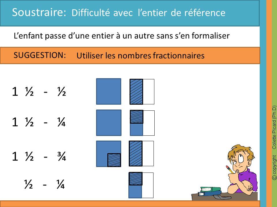 c copyright Colette Picard (Ph.D) SUGGESTION: Lenfant passe dune entier à un autre sans sen formaliser 1 ½ - ½ Utiliser les nombres fractionnaires Sou