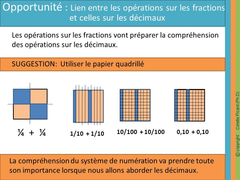c copyright Colette Picard (Ph.D) SUGGESTION: Utiliser le papier quadrillé Opportunité : Lien entre les opérations sur les fractions et celles sur les