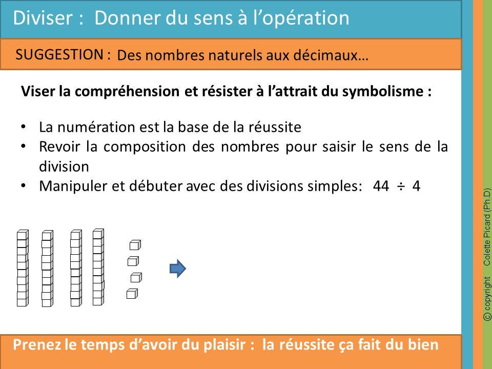 c copyright Colette Picard (Ph.D) SUGGESTION : Diviser : Donner du sens à lopération Des nombres naturels aux décimaux… Viser la compréhension et rési