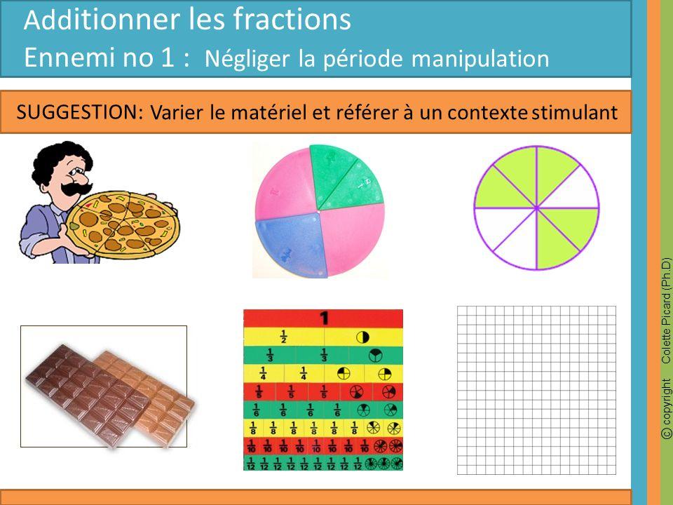 c copyright Colette Picard (Ph.D) SUGGESTION: Add itionner les fractions Ennemi no 2 : Difficulté avec les représentations ½ + 1/4 = Faire verbaliser lenfant Intuitivement lenfant veut additionner le ¼ de la demie Il obtient 10/16 ou encore 8/16, car deux cases sont superposées.