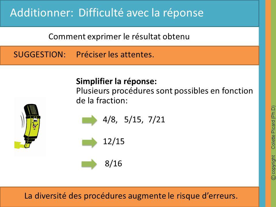 c copyright Colette Picard (Ph.D) SUGGESTION: Additionner: Difficulté avec la réponse Comment exprimer le résultat obtenu Préciser les attentes. Simpl
