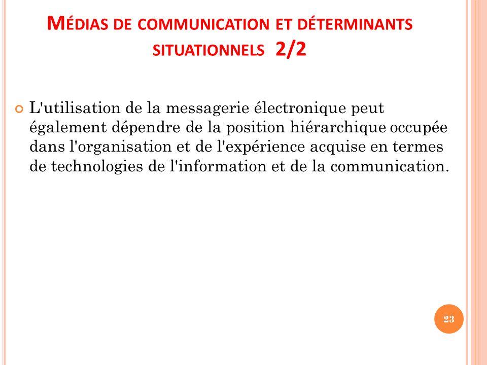 M ÉDIAS DE COMMUNICATION ET DÉTERMINANTS SITUATIONNELS 2/2 L'utilisation de la messagerie électronique peut également dépendre de la position hiérarch