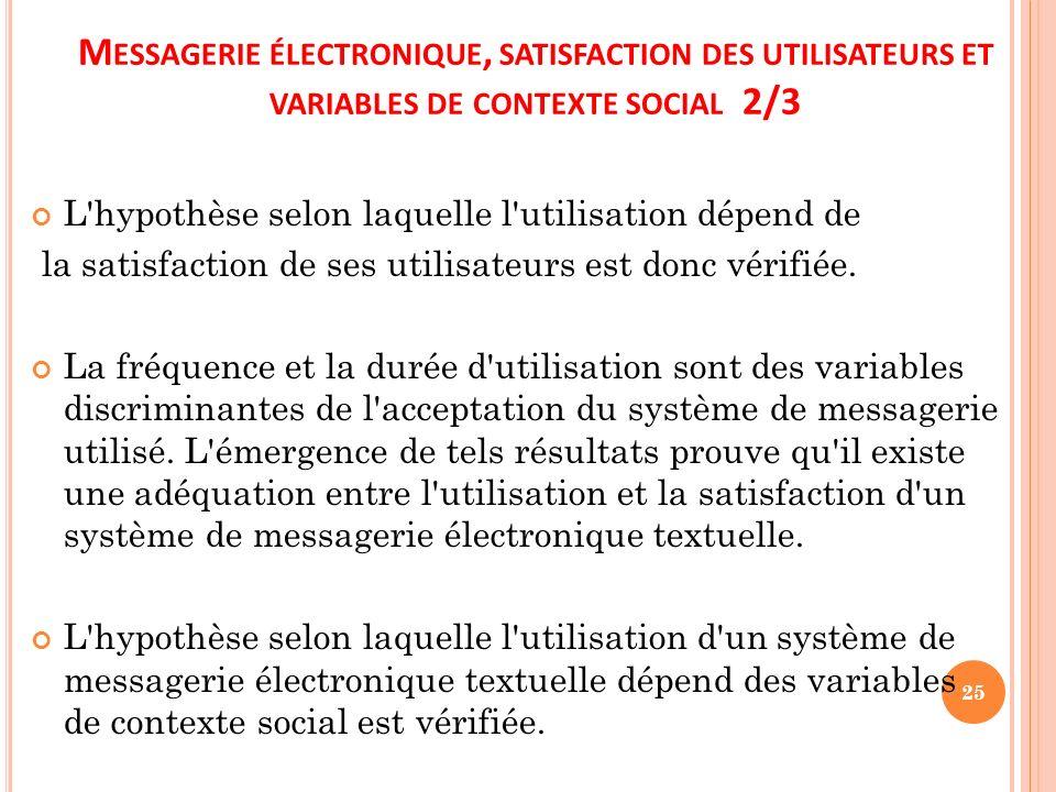 M ESSAGERIE ÉLECTRONIQUE, SATISFACTION DES UTILISATEURS ET VARIABLES DE CONTEXTE SOCIAL 2/3 L'hypothèse selon laquelle l'utilisation dépend de la sati