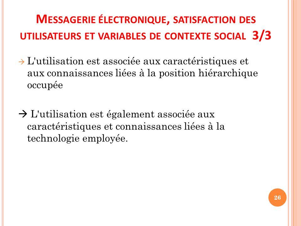 M ESSAGERIE ÉLECTRONIQUE, SATISFACTION DES UTILISATEURS ET VARIABLES DE CONTEXTE SOCIAL 3/3 L'utilisation est associée aux caractéristiques et aux con