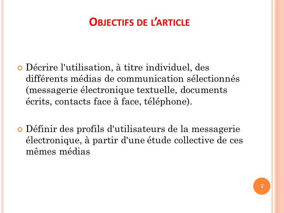 O BJECTIFS DE L ARTICLE Décrire l'utilisation, à titre individuel, des différents médias de communication sélectionnés (messagerie électronique textue