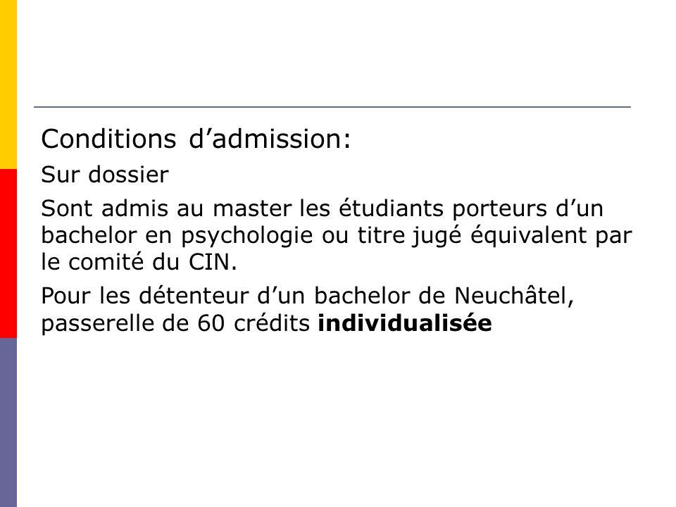 Conditions dadmission: Sur dossier Sont admis au master les étudiants porteurs dun bachelor en psychologie ou titre jugé équivalent par le comité du CIN.