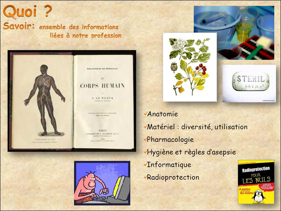 8 Anatomie Matériel : diversité, utilisation Pharmacologie Hygiène et règles dasepsie Informatique Radioprotection