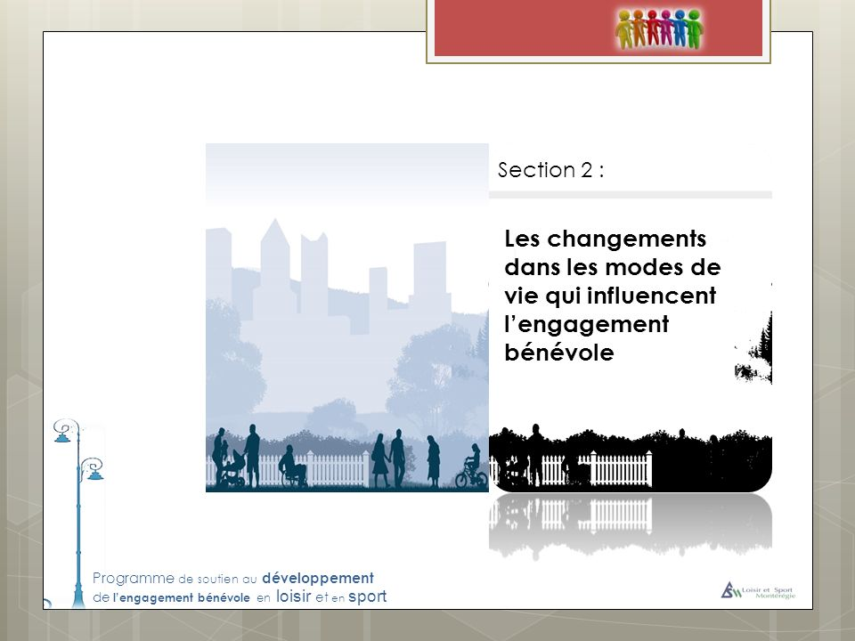 Programme de soutien au développement de lengagement bénévole en loisir et en sport Les changements dans les modes de vie qui influencent lengagement bénévole Section 2 :