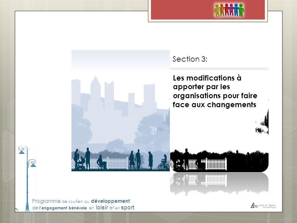 Programme de soutien au développement de lengagement bénévole en loisir et en sport Les modifications à apporter par les organisations pour faire face aux changements Section 3: