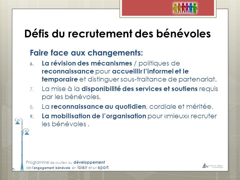 Programme de soutien au développement de lengagement bénévole en loisir et en sport Défis du recrutement des bénévoles Faire face aux changements: 6.