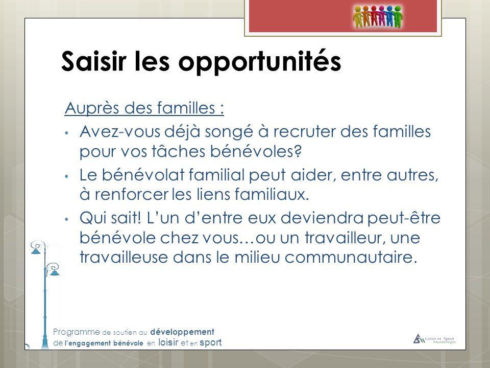 Programme de soutien au développement de lengagement bénévole en loisir et en sport Saisir les opportunités Auprès des familles : Avez-vous déjà songé à recruter des familles pour vos tâches bénévoles.