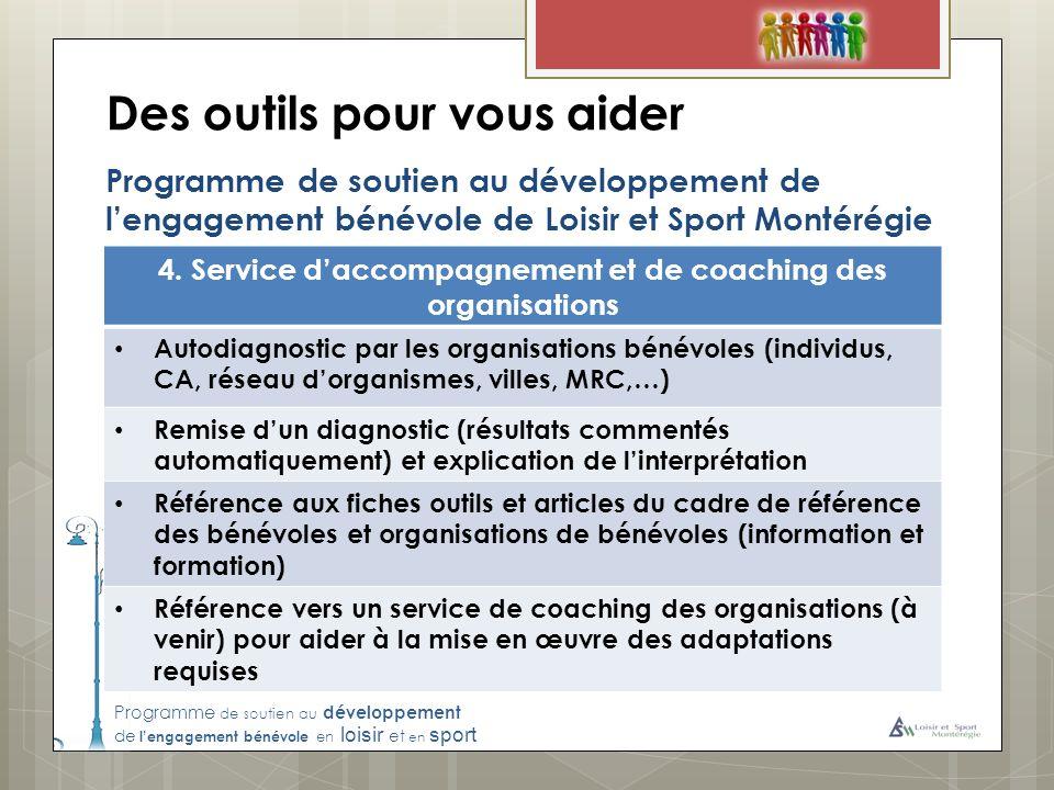 Programme de soutien au développement de lengagement bénévole en loisir et en sport Des outils pour vous aider Programme de soutien au développement de lengagement bénévole de Loisir et Sport Montérégie 4.