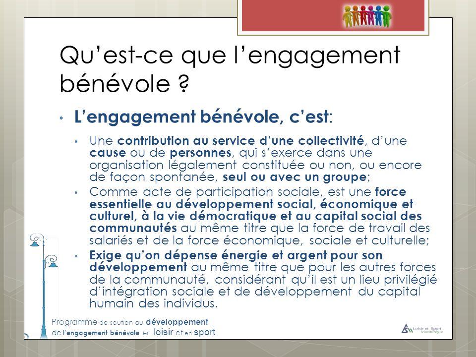 Programme de soutien au développement de lengagement bénévole en loisir et en sport Quest-ce que lengagement bénévole .