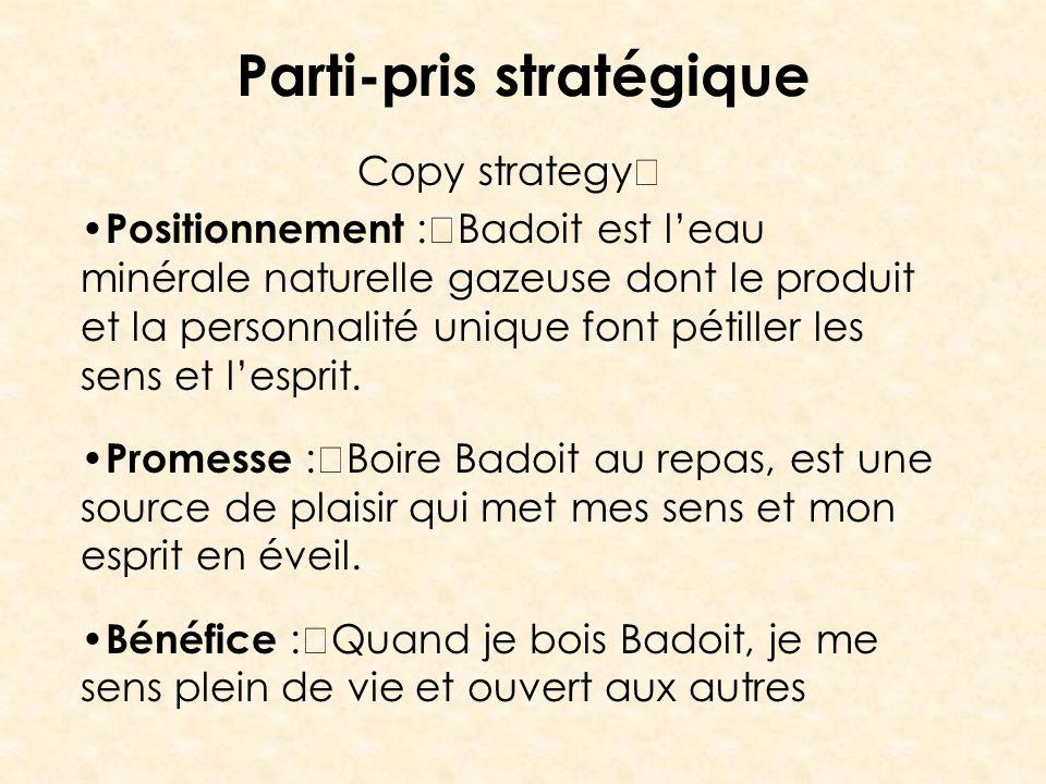 Parti-pris stratégique Copy strategy Positionnement : Badoit est leau minérale naturelle gazeuse dont le produit et la personnalité unique font pétill