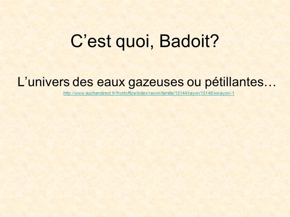 Cest quoi, Badoit? Lunivers des eaux gazeuses ou pétillantes… http://www.auchandirect.fr/frontoffice/index/rayon/famille/15144/rayon/15146/ssrayon/-1