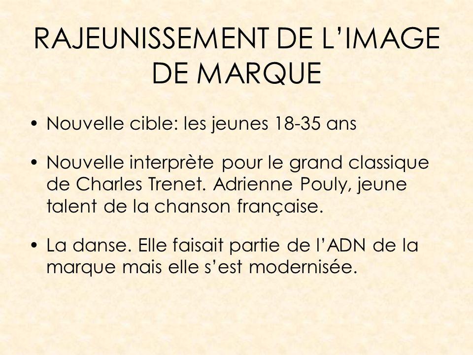 RAJEUNISSEMENT DE LIMAGE DE MARQUE Nouvelle cible: les jeunes 18-35 ans Nouvelle interprète pour le grand classique de Charles Trenet. Adrienne Pouly,