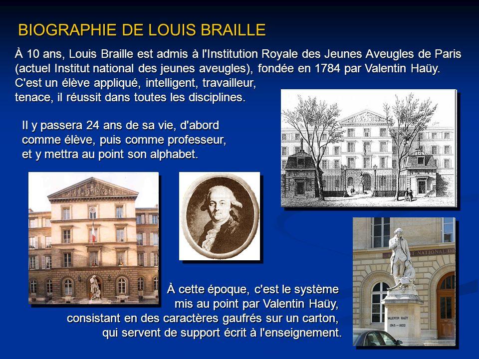 À 10 ans, Louis Braille est admis à l'Institution Royale des Jeunes Aveugles de Paris (actuel Institut national des jeunes aveugles), fondée en 1784 p