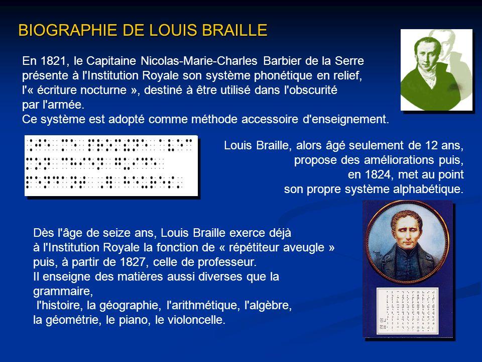 En 1821, le Capitaine Nicolas-Marie-Charles Barbier de la Serre présente à l'Institution Royale son système phonétique en relief, l'« écriture nocturn