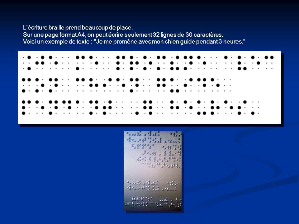 L'écriture braille prend beaucoup de place. Sur une page format A4, on peut écrire seulement 32 lignes de 30 caractères. Voici un exemple de texte :