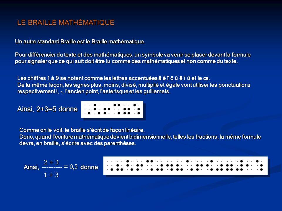 Les chiffres 1 à 9 se notent comme les lettres accentuées â ê î ô û ë ï ü et le œ. De la même façon, les signes plus, moins, divisé, multiplié et égal