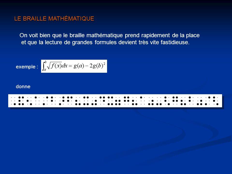 On voit bien que le braille mathématique prend rapidement de la place et que la lecture de grandes formules devient très vite fastidieuse. LE BRAILLE