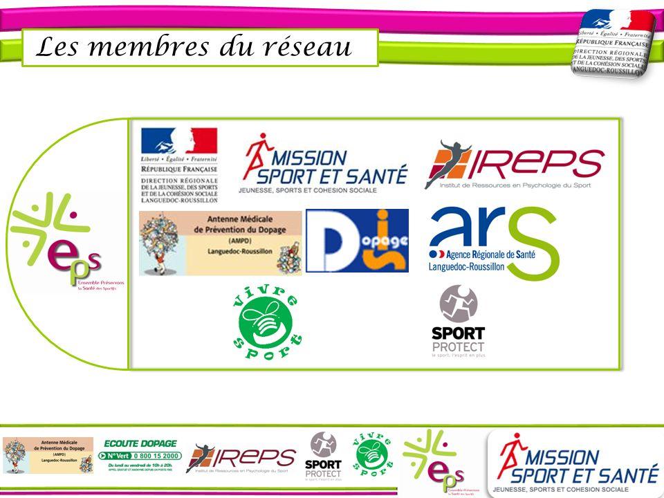 Direction de la Jeunesse et des Sports et de la Cohésion sociale du Languedoc-Roussillon Statut : Collectivité territoriale Objet : Décliner au niveau régional les politiques sociales sportives de la jeunesse, de la vie associative et de léducation populaire, notamment en termes de promotion de lactivité physique pour tous et de protection de la santé des pratiquants Actions principales : Dans le cadre de la mission Sport et Santé : - Élaborer des axes de travail et des stratégies opérationnelles dans le cadre de 6 commissions thématiques dont celle ciblée par le réseau - Favoriser la mise en œuvre dactions dinformation, de sensibilisation, de prévention, de formation et de valorisation, via deux collectifs opérationnels dont le collectif EPS Intervenants : Olivier COSTE, médecin conseiller auprès du directeur de la DRJSCS – LR Équipe de prévention et déducation santé et sport (pluridisciplinaire) Coordonnées : Olivier COSTE : Tél.