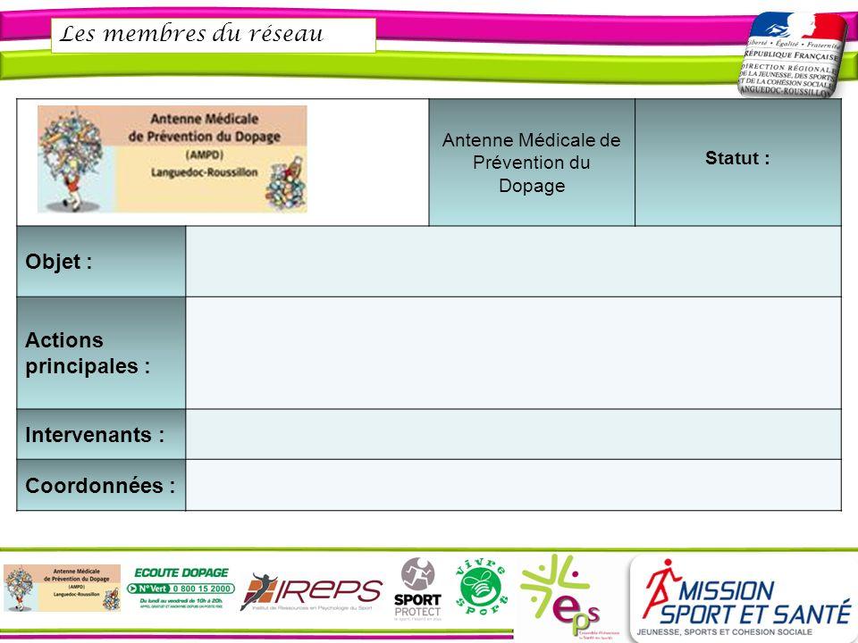 Les membres du réseau Antenne Médicale de Prévention du Dopage Statut : Objet : Actions principales : Intervenants : Coordonnées :