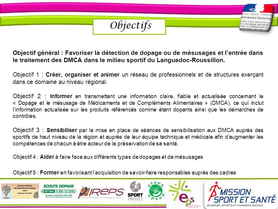 Objectifs Objectif général : Favoriser la détection de dopage ou de mésusages et lentrée dans le traitement des DMCA dans le milieu sportif du Langued