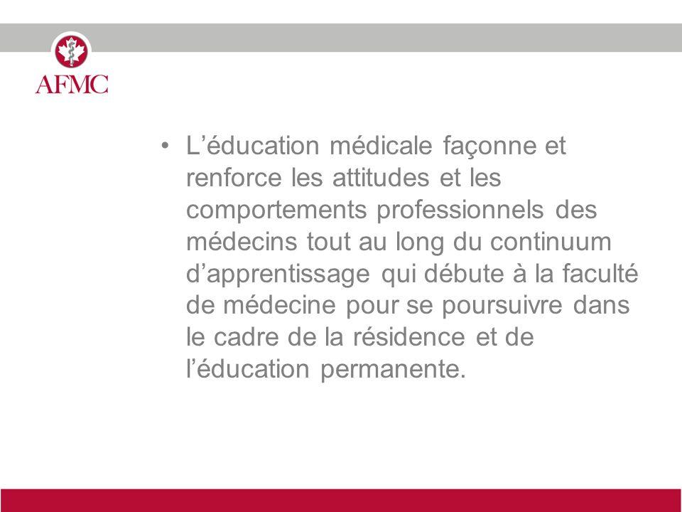 Léducation médicale façonne et renforce les attitudes et les comportements professionnels des médecins tout au long du continuum dapprentissage qui débute à la faculté de médecine pour se poursuivre dans le cadre de la résidence et de léducation permanente.