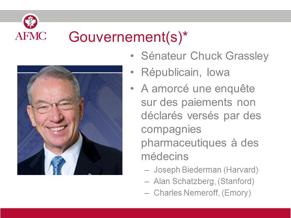 Gouvernement(s)* Sénateur Chuck Grassley Républicain, Iowa A amorcé une enquête sur des paiements non déclarés versés par des compagnies pharmaceutiqu
