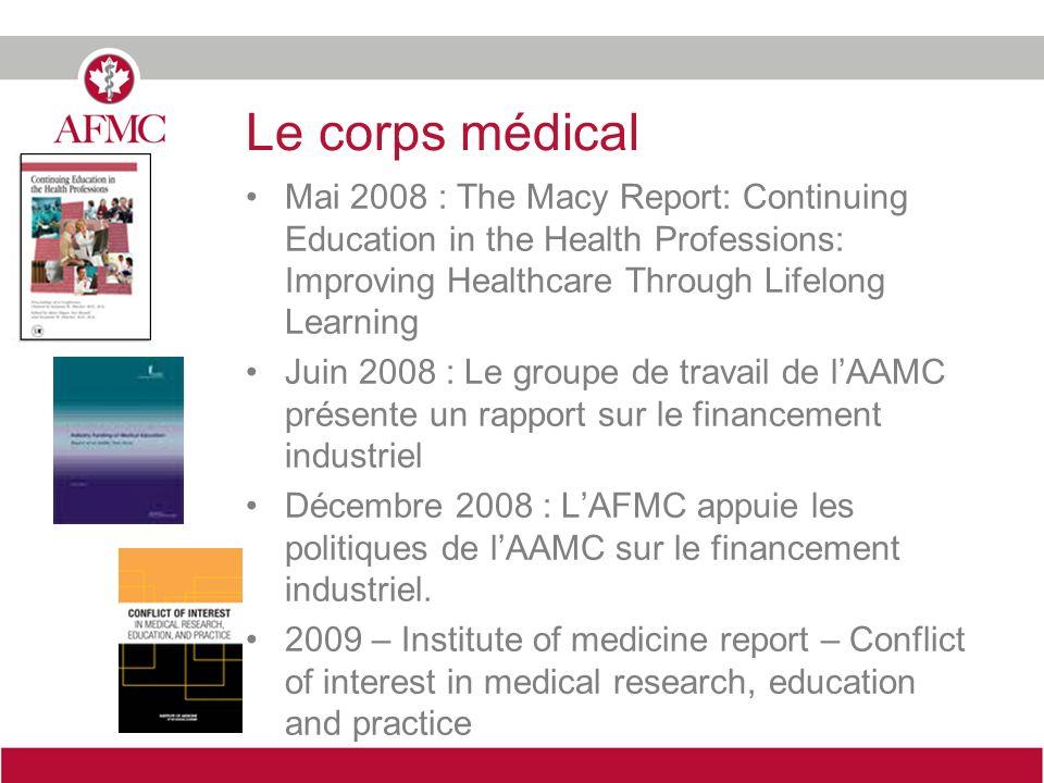 Le corps médical Mai 2008 : The Macy Report: Continuing Education in the Health Professions: Improving Healthcare Through Lifelong Learning Juin 2008 : Le groupe de travail de lAAMC présente un rapport sur le financement industriel Décembre 2008 : LAFMC appuie les politiques de lAAMC sur le financement industriel.