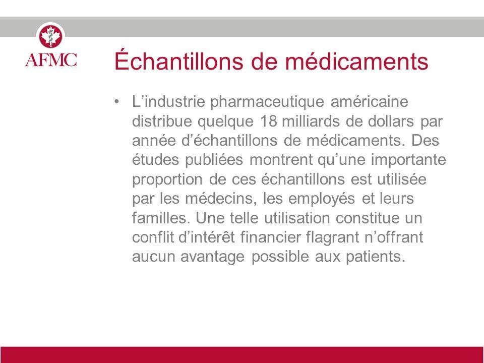 Échantillons de médicaments Lindustrie pharmaceutique américaine distribue quelque 18 milliards de dollars par année déchantillons de médicaments.