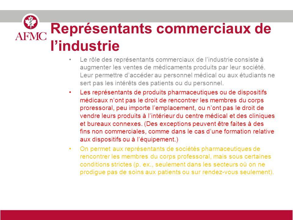 Représentants commerciaux de lindustrie Le rôle des représentants commerciaux de lindustrie consiste à augmenter les ventes de médicaments produits par leur société.