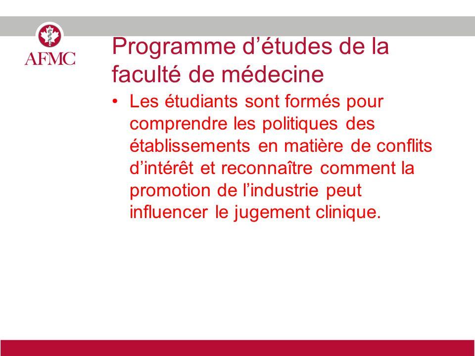Programme détudes de la faculté de médecine Les étudiants sont formés pour comprendre les politiques des établissements en matière de conflits dintérê