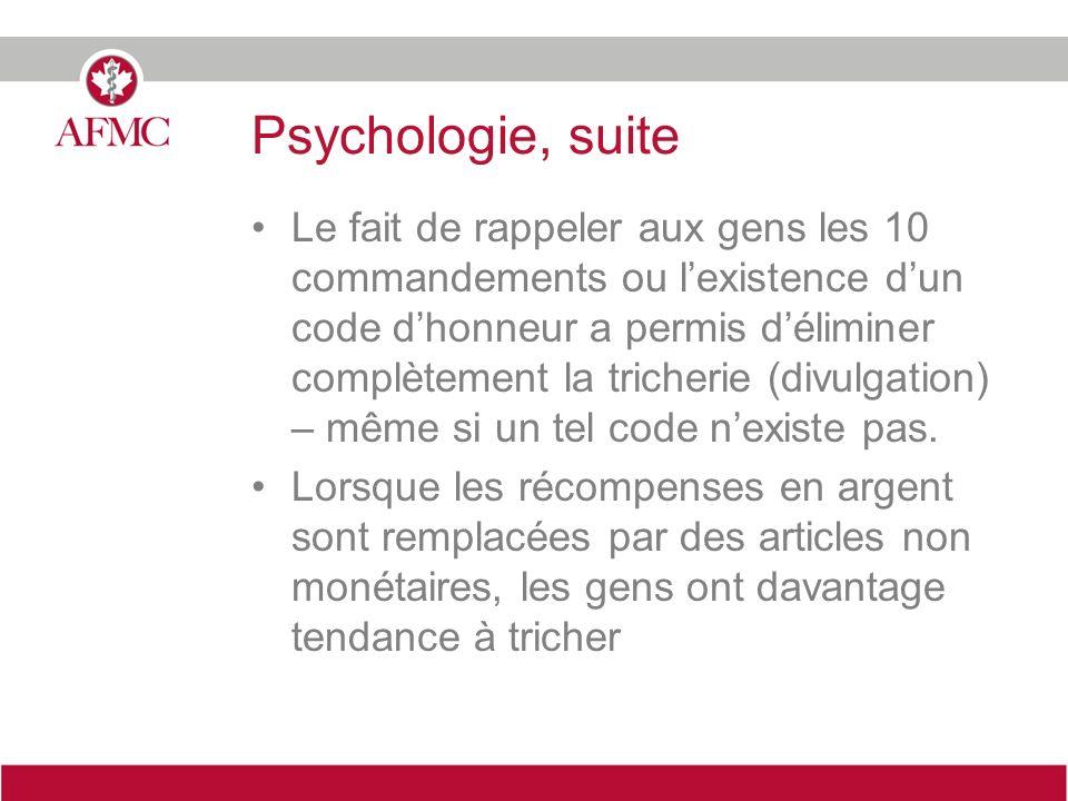 Psychologie, suite Le fait de rappeler aux gens les 10 commandements ou lexistence dun code dhonneur a permis déliminer complètement la tricherie (div