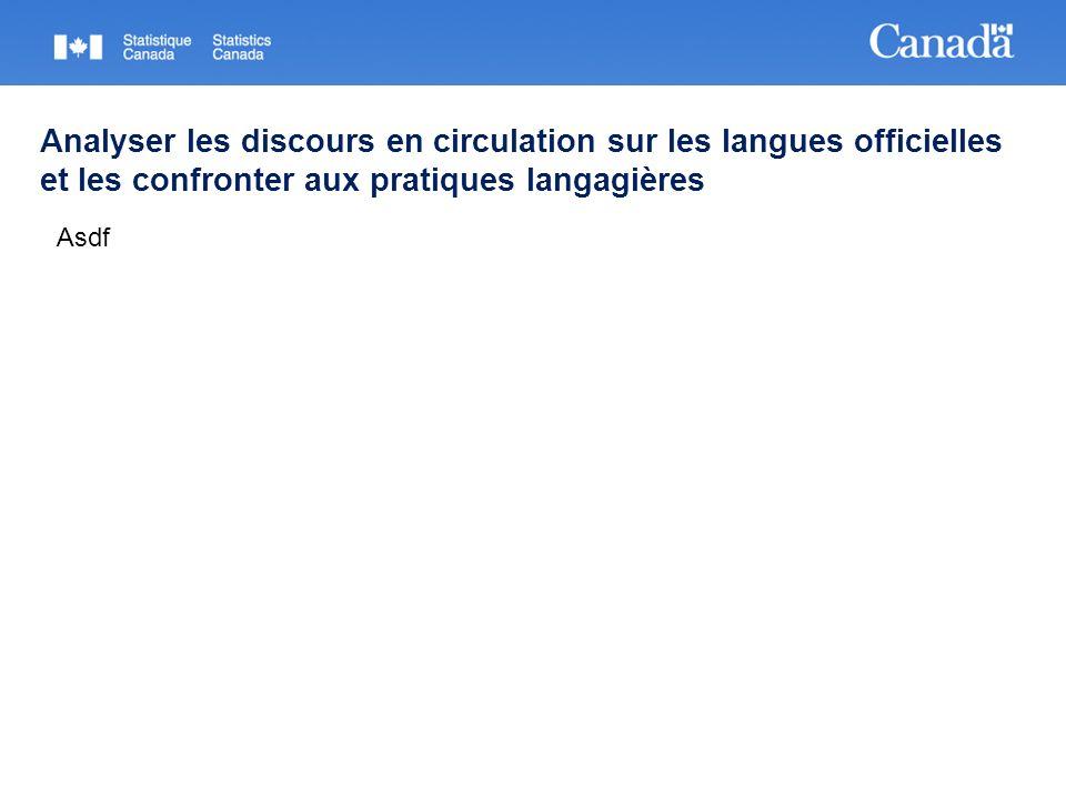 Analyser les discours en circulation sur les langues officielles et les confronter aux pratiques langagières Asdf