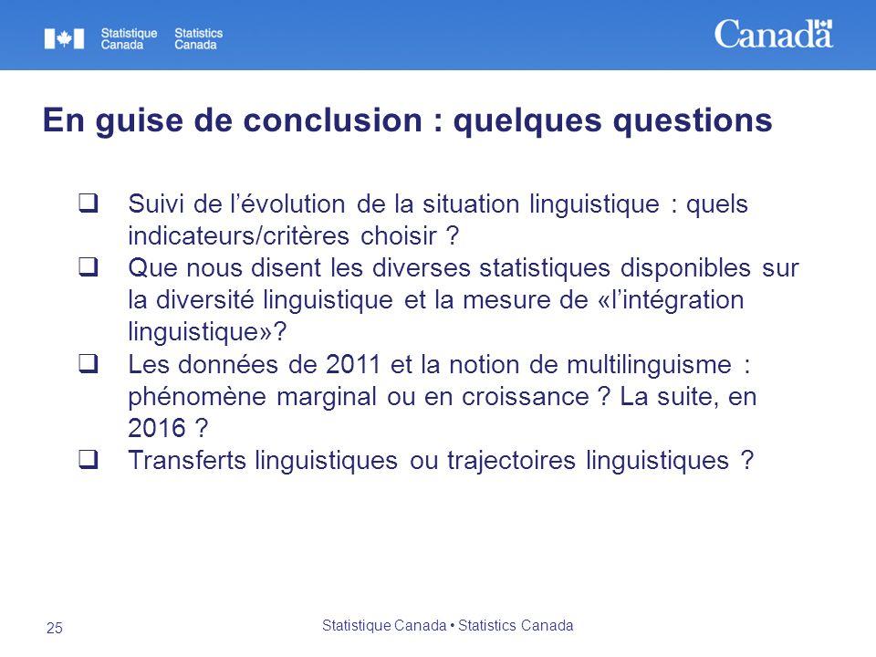 Statistique Canada Statistics Canada 25 En guise de conclusion : quelques questions Suivi de lévolution de la situation linguistique : quels indicateurs/critères choisir .