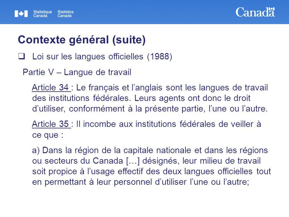 Contexte général (suite) Loi sur les langues officielles (1988) Partie V – Langue de travail Article 34 : Le français et langlais sont les langues de travail des institutions fédérales.
