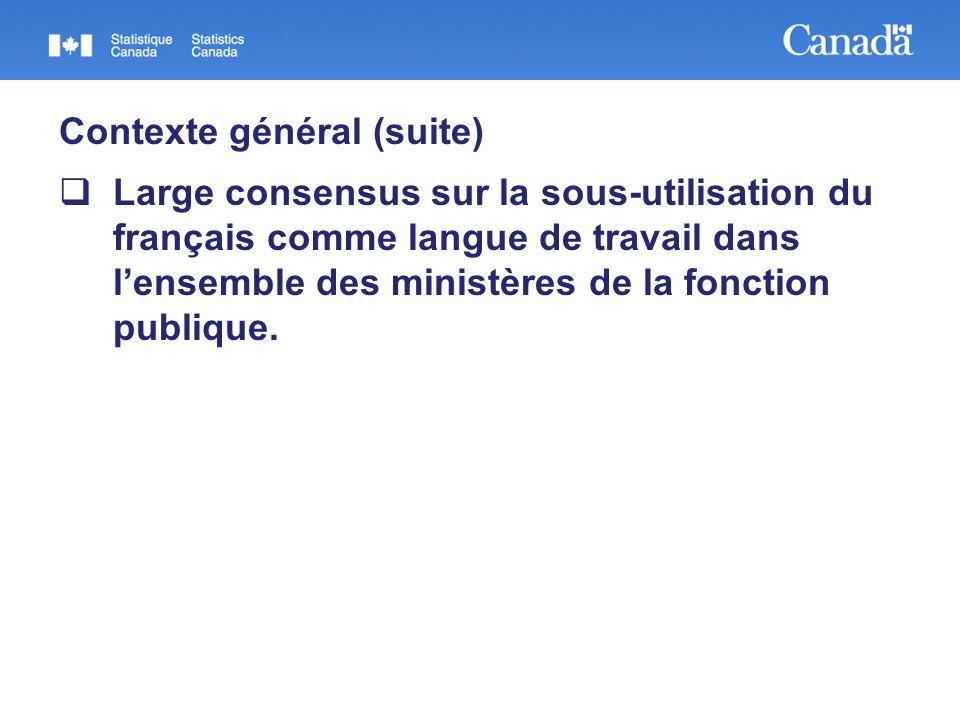 Contexte général (suite) Large consensus sur la sous-utilisation du français comme langue de travail dans lensemble des ministères de la fonction publique.